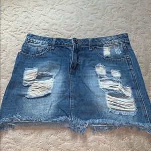 Boutique store jean skirt find